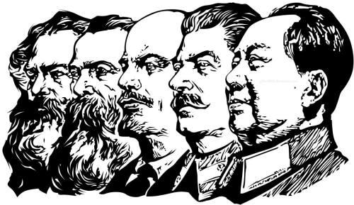 Ang mga haligi ng pandaigdigang Komunismo:  Karl Marx, Friedrich Engels, Vladimir Lenin, Josef Stalin, Mao Zedong.