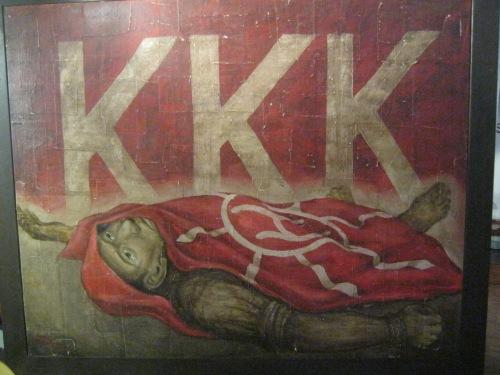 Ang alegorikal o simbolikal na paglalarawan ng patay na si Bonifacio.  Obra ni Bonifacio Cristobal na ineksibit sa GSIS Museo ng Sining.