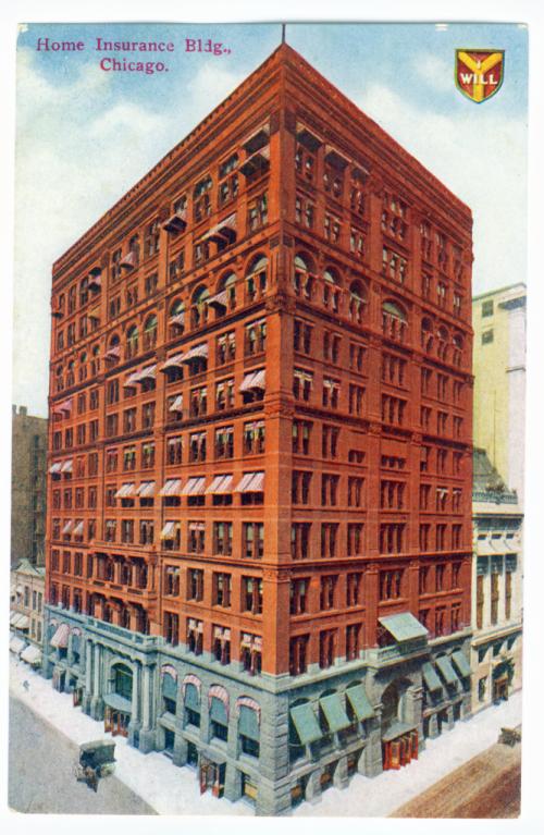 Home Insurance Building sa Chicago (1884), unang metal frame skyscraper sa Estados Unidos.  Inspirasyon mula sa bahay kubo.