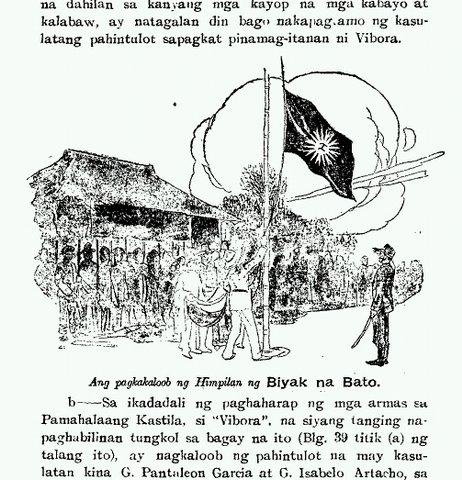 Ang pagbaba ng tunay na disenyo ng bandila ng pamahalaang mapanghimagsik sa Biak-na-bato sa guhit mismo sa alaala ni Heneral Artemio Ricarte.