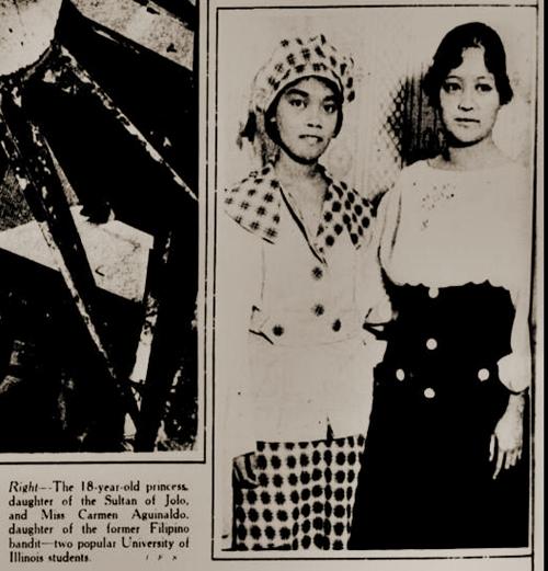 Si Carmen Aguinaldo, anak ni Heneral Emilio Aguinaldo, at si Prinsesa Tarhata Kiram ng Sulu, New York Tribune September 7, 1919.  Mula kay Arnaldo Dumindin.