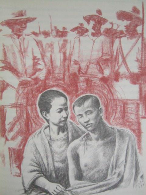 Si Aling Oriang habang inaalagaan ang asawang si Andres Bonifacio sa Indang.  Obra ni Egai Fernandez mula sa Supremo.