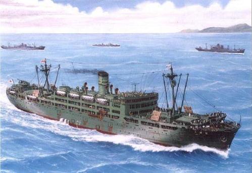 """Ang """"hell ship"""" na Oryuku Maru.  Mula sa http://jimclarkphotography.blogspot.com/2011/03/hell-ships-subic-bay-philippines.html."""