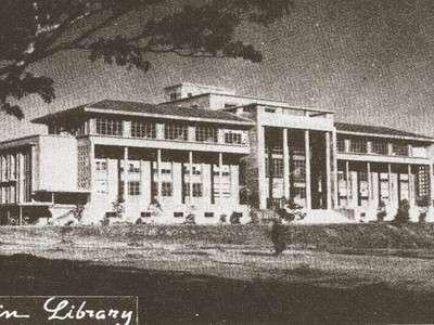 Ang Gusaling Aklatan ng Unibersidad ng Pilipinas--Gonzales Hall.  Hindi naisakatuparan ang planong mataas na tore sa itaas nito.  Mula sa arkitektura.ph.