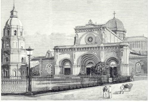Katedral ng Maynila bago ang lindol ng 1880.  Mula kay Dr. Jaime B. Veneracion.