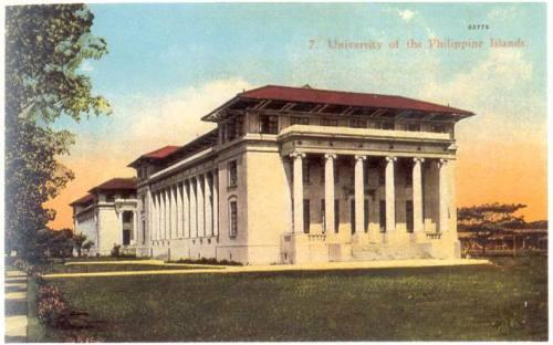 Ang campus ng Unibersidad ng Pilipinas sa Padre Faura noong panahon ng mga Amerikano.  Mula sa Philippine Picture Postcards:  1900-1920.