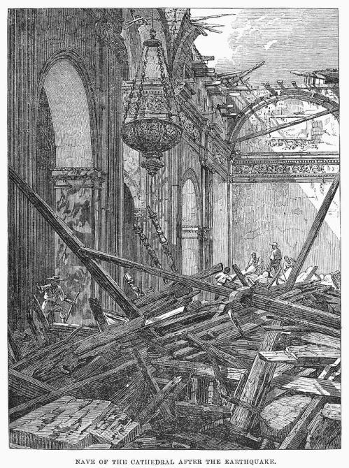 Ang guho sa Katedral ng Maynila na lumabas sa Illustrated London News.  Mula sa National Information Service for Earthquake Engineering (NISEE) ng Pacific Earthquake Engineering Research (PEER), University of California, Berkeley.