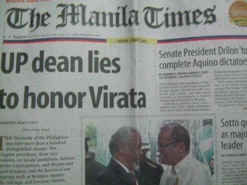 Ang Manila Times mother headline na nagbabandila ng kontrobersya.  Mula sa Aklatang Xiao Chua.