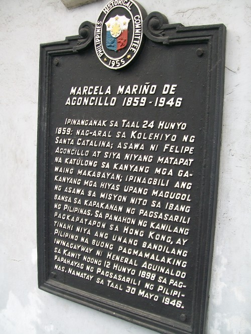Marker ng Dambanang Pangkasaysayang Marcela Agoncillo sa Taal, Batangas.  Kuha ni Xiao Chua.