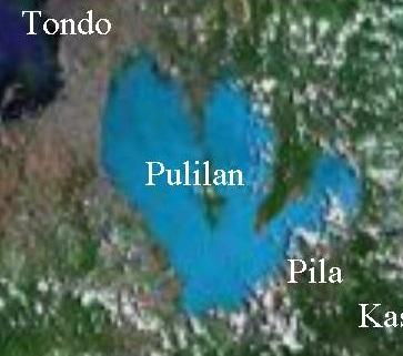 Mula Tondo at Maynila, ang Ilog Pasig ay bumabagtas hanggang Laguna de Bai--mga dating kaharian na tinukoy sa Laguna Copperplayte Inscription.  Mula kay Jaime Figueroa Tiongson.