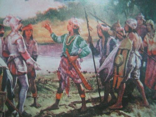 """""""Entrevista de Goiti y Rajah Soliman,"""" and encuentro nina Martin de Goiti at Rajah Soliman, 1570. Obra maestra ni Fernando Amorsolo.  Mula sa Pacto de Sangre."""