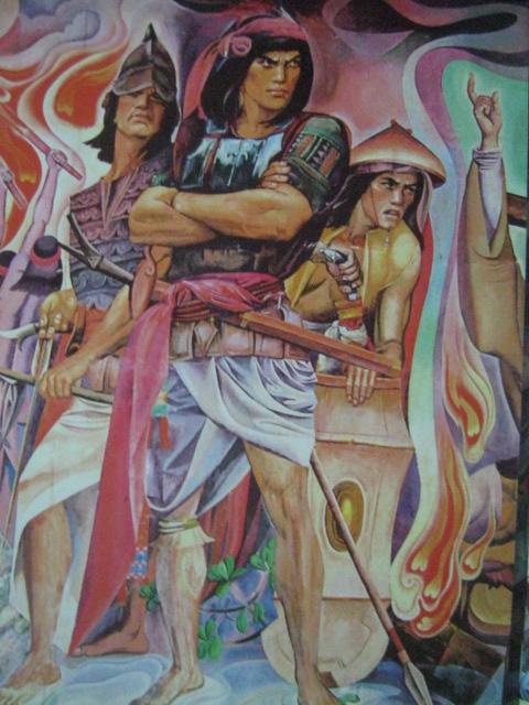 """Rajah Soliman, mula sa """"History of Manila"""" mural ni Carlos """"Botong"""" Francisco, Pambansang Alagad ng Sining sa Sining Biswal.  Nasa City Hall ng Maynila."""