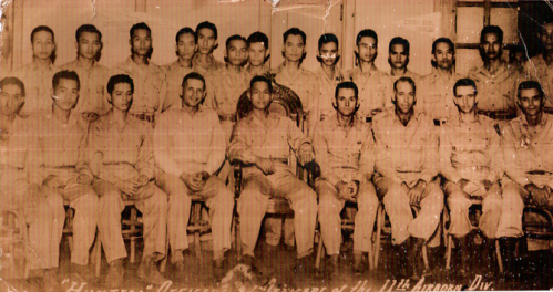 "Mula sa kagitingatour.com:    Col. Eleuterio ""Terry"" Adevoso (seated, center) commander of the  Hunters-ROTC Guerrillas flanked by officers of the US 11th Airborne Division.  Also seated, the  field commanders of the Hunters-ROTC Guerrillas. From left to right: Lt. Col. Juan Daza, commander  free areas and chief of intelligence; Lt. Col. Tereso  Pia, commmander, 44th Hunter Division; Lt. Col. Emmanul De Ocampo, comander, 47th ROTC Division Standing from left:  Capt. Jimmy Mauricio (partially hidden); Lt. Col. Gustavo Ingles;  Maj. Vic Labayog; Capt. Buddy Carreon; Maj. Mars Lazo;  Capt. Mondego;  Maj. Gabby Cruz,;  Capt. Florencio Sanchez;  Lt. Col. Bert Atienza;  Capt. Buddy Fernandez; Maj. Antonio Liban;  Lt. Col. Frisco San Juan, Chief of Staff;  Lt. Col. Hermie Atienza, military mayor of Manila;  Lt. Col. Marcelo Castelo,; Maj. Ernesto Tupaz."