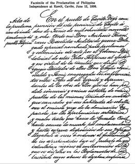 Unang pahina ng Acta de la Proclamacion de Independencia del Pueblo Filipino na sinulat ni Ambrosio Rianzares Bautista.
