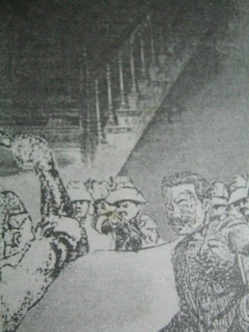Ang pagtaga ni Janolino kay Heneral Antonio Luna.  Mula sa National Centennial Commission.