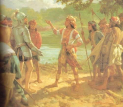 Encuentro nina Martin de Goiti at Rajah Soliman, 1570.  Mula sa Pacto de Sangre.