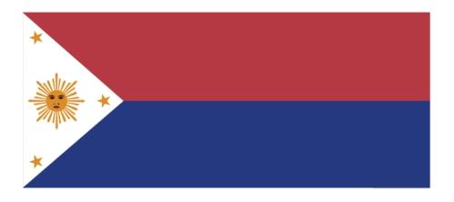 Isang paglalarawan ng disenyo ng unang watawat ng Pilipinas na may araw na may mukha at walong sinag, dark blue naman ito at dahil panahon ng Himagsikan ito ginamit, nakataas ang pula (1898-1901).  Mula sa http://malacanang.gov.ph/.
