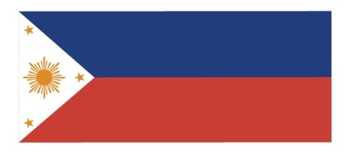 Matapos ang pag-ban sa pagladlad ng watawat dahil sa Flag Law (1919-1936), ito na ang lumaganap na disenyo, wala na ang araw.  Mula sa http://malacanang.gov.ph/.