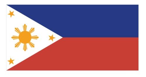 Ang bandilang inaprubahan ayon sa tamang sukat noong 1936.  Ang blue ay navy blue.  Mula sa http://malacanang.gov.ph/.