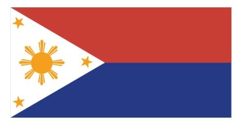 Ang bandilang pandigmang Pilipino noong Ikalawang Digmaang Pandaigdig.  Nasa taas ang pula.  Mula sa http://malacanang.gov.ph/.