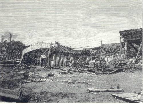 Guho ng Carroceria de Garchitorena noong lindol ng 1880.  Mula kay Dr. Jaime B. Veneracion.