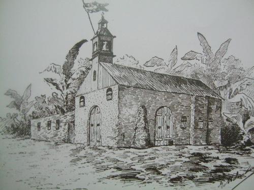 Isang paglalarawan ng Simbahan ng San Luis Obispo de Tolosa sa Baler sa panahon ng mga kaganapan noong 1898-1899.  Mula sa Pacto de Sangre.