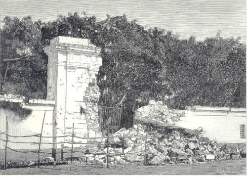 Guho ng portico ng Palasyo ng Malacanan noong lindol ng 1880.  Mula kay Dr. Jaime B. Veneracion.