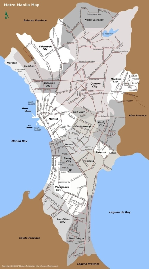 Ang mapa ng Metropolitan Manila o National Capital Region.