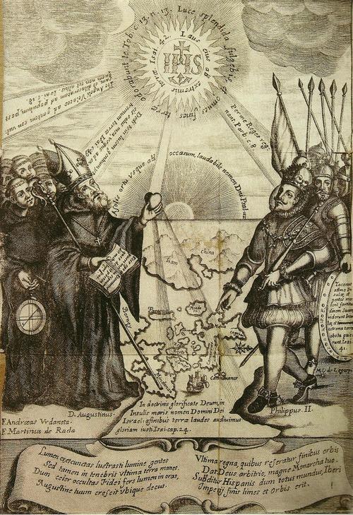 """Pabalat ng """"Conquistas de las Islas Filipinas, 1565-1615"""" ni Padre Gaspar de San Agustin."""