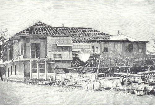 Guho ng isang bahal sa arabal ng Sampaloc noong lindol ng 1880.  Mula kay Dr. Jaime B. Veneracion.