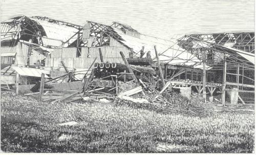 Guho ng mga kamarin ng isang pabrika noong lindol ng 1880.  Mula kay Dr. Jaime B. Veneracion.