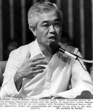 Si Virata habang nagbibigay ng testimonya sa Agrava Commission.  Mula sa retrato.com.ph.