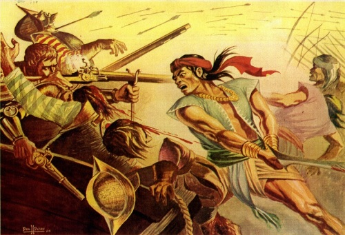 """Rajah Sulayman's Last Stand at Maynila, June 3, 1521.""  Isang obrang watercolor na ginawa ni Dan H. Dizon na lumitaw sa In The Grade School Magazine, 1964.  Sa kagandahang loob ni Director Robby Tantingco ng Juan D. Nepomuceno Center for Kapampangan Studies ng Holy Angel University."