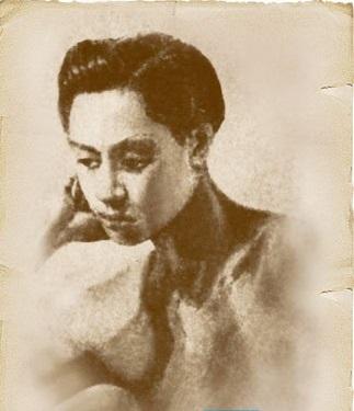 Isang sketch ni Rizal sa sarili.  Feminine side?  Mula sa Vibal Foundation.