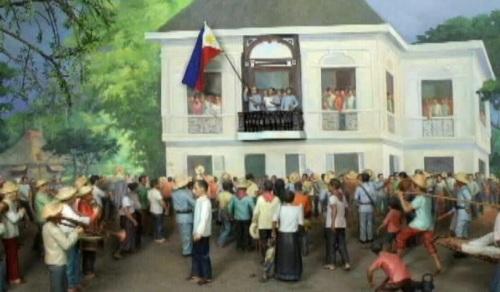 Ang proklamasyon ng Independencia bilang diorama ng Ayala Museum.
