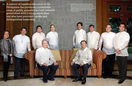 Ilan sa kasapi ng gabinete ni Pangulong Noynoy Aquino ay mga Lasalyano.  Mula sa The Future Begins Here.