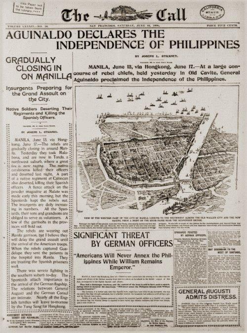 Pagbabalita ng Proklamasyon ng Independencia ng Pilipinas, San Francisco Chronicle, June 18, 1898.  Mula kay Arnaldo Dumindin.