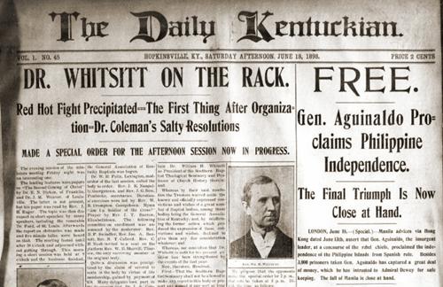 Pagbabalita ng Proklamasyon ng Independencia ng Pilipinas, Daily Kentuckian, June 18, 1898.