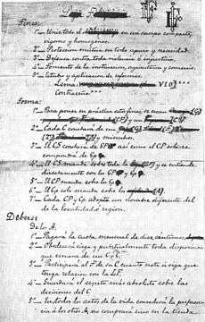 Unang pahina ng orihinal na manuskrito ng saligang batas ng La Liga Filipina na isinulat ni Rizal sa Hongkong, 1892.