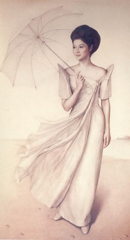 Si Imelda na may parasol sa paglalarawan ng hyperrealist na pintor mula sa Chile na si Claudio Bravo.  Mula sa Metropolitan Museum of Manila.