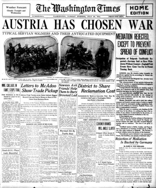 Nang ang Austria ay magdeklara ng digmaan laban sa Serbia at mga kakampi, July 28, 1914.