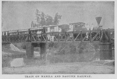 Ang riles at tren mula maynila hanggang Dagupan.