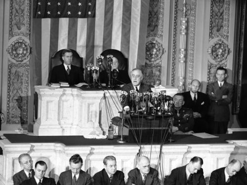 Franklin Roosevelt delivering one of his State of the Union Address.  From gannett-cdn.com