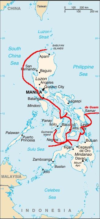 Ang ruta ng Ekspedisyon ng Legazpi sa Pilipinas.