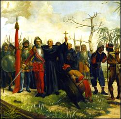 Pagdating ni Legazpi at Urdaneta sa Maynila, 1571.  Mula sa Simbahan ng San Agustin.