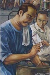 Paglalarawan ng Neo- Angono Artists Collective kay Marcelo H. del Pilar bilang modernong peryodista na nagpupulot ng upos ng sigarilyo upang hithitin at makalimutan ang gutom, habang nakatanggap ng isa pang sulat mula sa pamilya.  Nakalagay sa National Press Club Bulding.