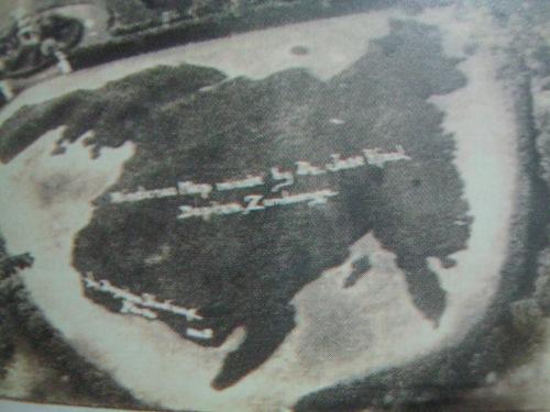 Malaking mapa ng Mindanao na nilikha nina Rizal sa plaza ng Dapitan.  Mula sa Vibal Foundation, Inc.
