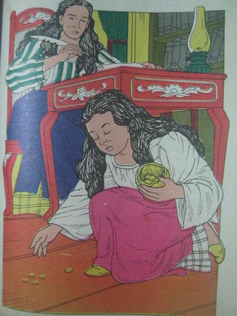 Ang pag-aalay ng Piso ni Anita para sa amang si Plaridel.  Guhit nina Albert E. Gamos at Leo A. Cultura/  Mula sa Adarna.