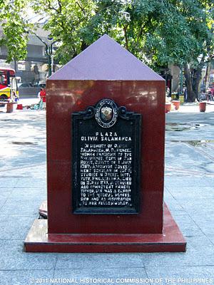 Marker sa Plaza Olivia Salamanca.