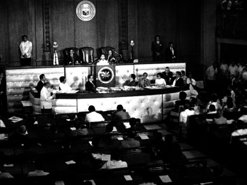 From gov.ph: President Ferdinand E. Marcos delivering the 1972 SONA in the Legislative Building in Manila (Ang huling SONA bago ang Batas Militar).